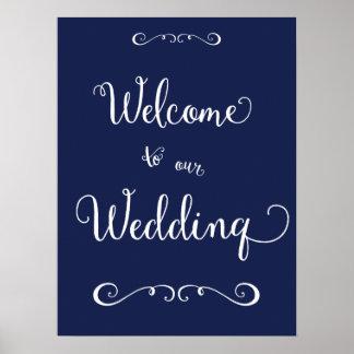 Det marinblåa bröllopmottagandet undertecknar poster