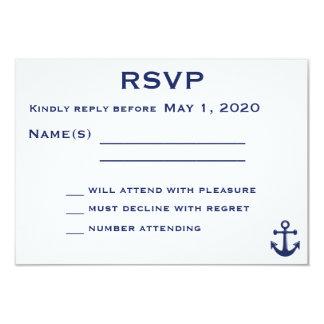 Det marinblåa nautiska bröllop OSAkortet med 8,9 X 12,7 Cm Inbjudningskort