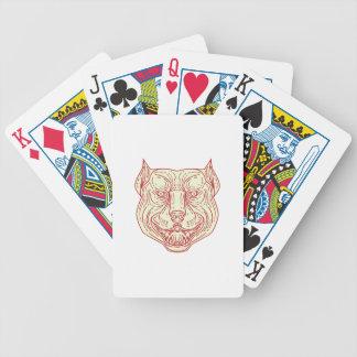 Det Mono huvudet för den Pitbull hundbyrackan Spelkort