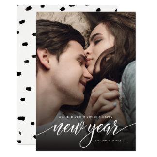 Det nya året skrivar fotohelgdagkortet 12,7 x 17,8 cm inbjudningskort