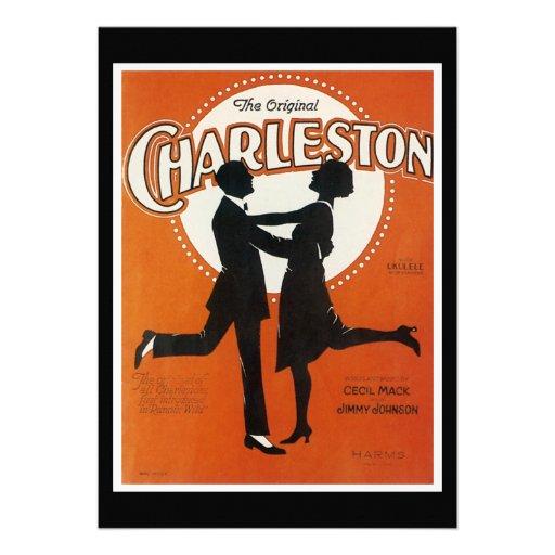 Det original- lakan för den Charleston vintagesång Unika Inbjudningar