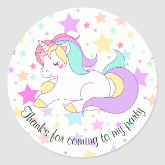 Det pastellfärgade unicorn- och stjärnapartyet runt klistermärke