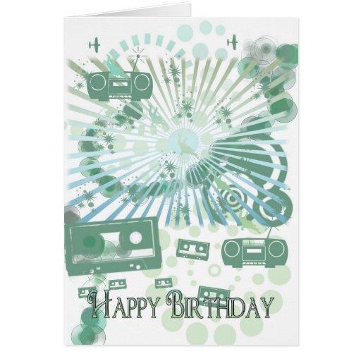 Det Retro födelsedagkortet - modernt Retro - tejpa Hälsningskort