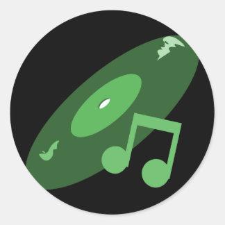 Det Retro musikrekordet noterar grönt Runda Klistermärken