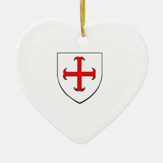 Det riddareTemplar korståg skyddar Julgransprydnad Keramik