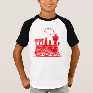 """Det röda ångalocotåg """"ditt namn"""" lurar t-skjortan tee"""