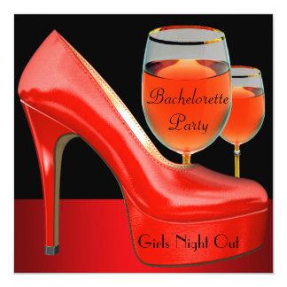 Det röda Bachelorette partyet skor högt Fyrkantigt 13,3 Cm Inbjudningskort
