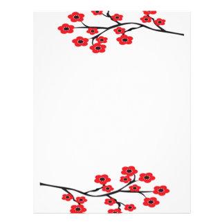 Det röda körsbäret blomstrar brevhuvudet brevhuvud