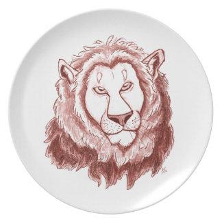 Det röda lejona huvudet ritar skissar middagen tallrik