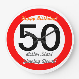 Det roliga 50th vägmärket för födelsedagskämt 50 stor klocka