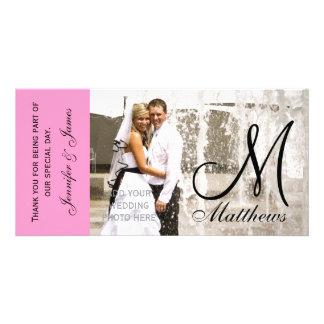 Det rosa brölloptackfotoet Cards mallen Skräddarsydda Fotokort