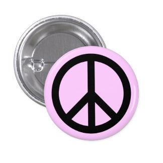 Det rosa fredsymbolet knäppas mini knapp rund 3.2 cm