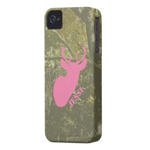 Det rosa hjorthuvudet & Camo personifierade fodral iPhone 4 Case-Mate Case