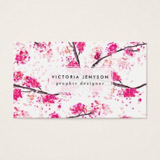 Det rosa körsbäret blomstrar den orientaliska visitkort