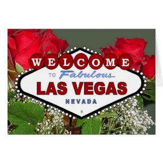 """Det sagolika Las Vegas för röd ros """"välkomna till"""" Hälsnings Kort"""