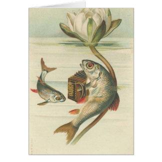 det sjungande fiskvintagekortet hälsningskort
