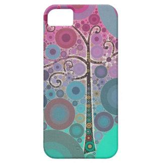 Det skraj färgrika rullaträd cirklar bubblar iPhone 5 fodraler