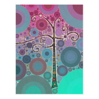 Det skraj färgrika rullaträd cirklar bubblar vykort