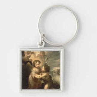 Det spädbarnKristus och Johnet The Baptist Fyrkantig Silverfärgad Nyckelring