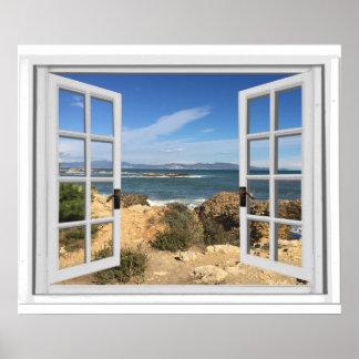 Det steniga strandhav beskådar fejkar fönstret poster