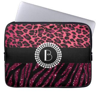 Det stilfulla djur skrivar ut sebra- och Leopardmö Laptopskydd Fodral