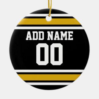 Det svart guld- namn för den fotbollJersey Julgransprydnad Keramik