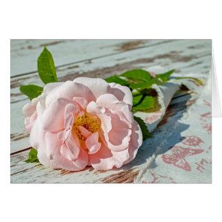 Det svart kortet, lantlig rosa vintage steg hälsningskort