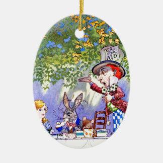 Det tokiga hatter'sens Teapartyet i Alice i Julgransprydnad Keramik