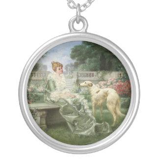 Det trädgårds- Borzoihalsbandet Silverpläterat Halsband
