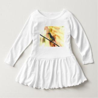 Det tropiska fågelsmåbarn rufsar klänningen tee shirt