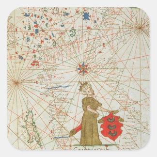 Det turkiska väldet, från en nautisk kartbok, 1646 fyrkantigt klistermärke