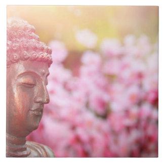 Det upplyst Buddha fotoet belägger med tegel Kakelplatta
