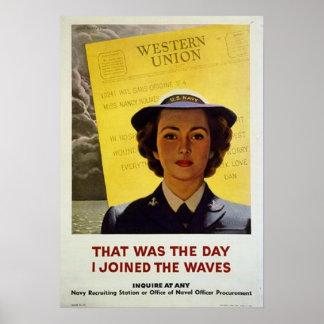 Det var dagen som jag gick med VÅGAR Poster