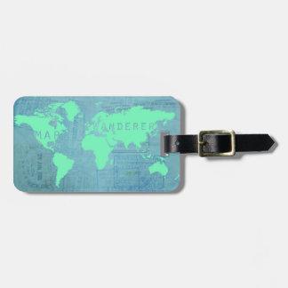 Det världskartan och passet stämplar (kartawandere bagage lappar för väskor