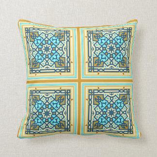 Det varma guld- och blåttkapell belägger med tegel kudde