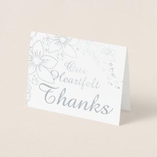 Det verkliga tackkortet omkullkastar guld- bröllop folierat kort