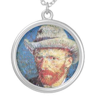 Det Vincent Van Gogh självporträtt med grå färg Silverpläterat Halsband