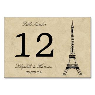 Det vintageEiffel torn Paris poststämplar bröllop Bordsnummer