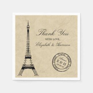 Det vintageEiffel torn Paris poststämplar bröllop Papper Servetter