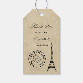Det vintageEiffel torn Paris poststämplar Presentetikett