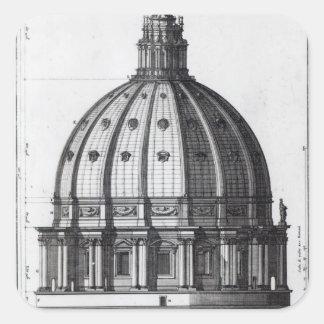 Det yttre av kupolen av St Peter, Rome Fyrkantigt Klistermärke