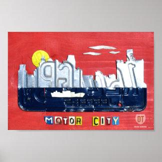 Detroit: Den motoriska stadsregistreringsskyltkons Poster