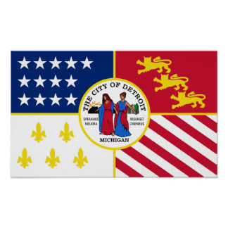 Detroit flagga poster