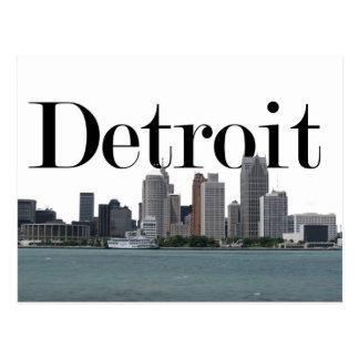 Detroit MI horisont med Detroit i himmlen Vykort
