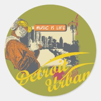 Detroit stads- T-tröja och gåvor Rund Klistermärke