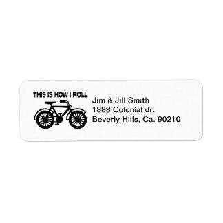 Detta är hur jag rullar cykeln returadress etikett