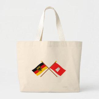 Deutschland und Hamburg Flaggen, gekreuzt Jumbo Tygkasse