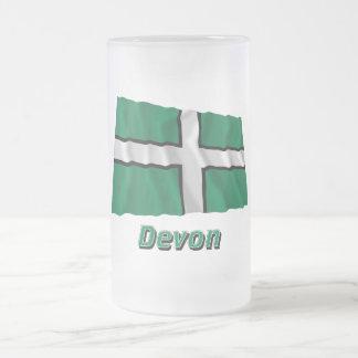 Devon som vinkar flagga med namn frostad glas mugg