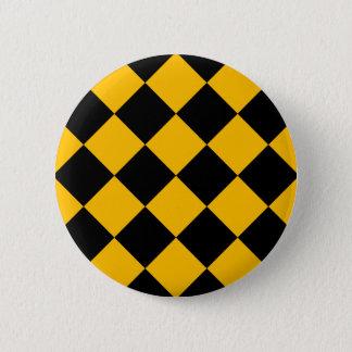 Diag rutigt stort - svart och bärnsten standard knapp rund 5.7 cm