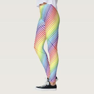 Diagonal färgglad regnbåge Polkadots Leggings